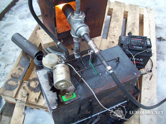 Печка на отработке с форсункой своими руками